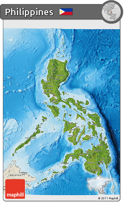 Fancy satellite 3d map of Philippines, shaded relief outside.