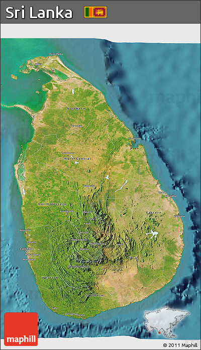 Satellite 3d map of Sri Lanka.